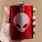 8oz RED Alien Flask L1