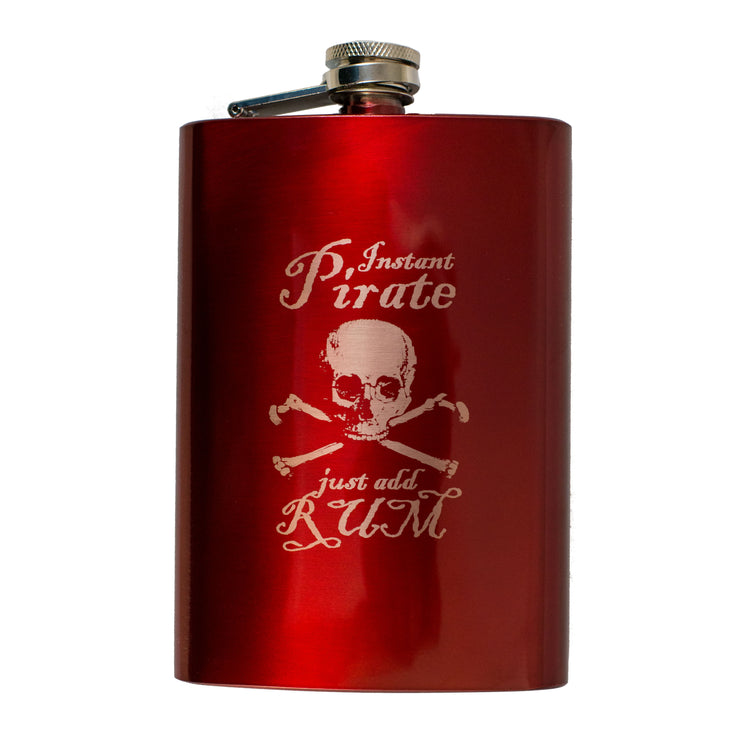 8oz RED Instant Pirate Just Add Rum Flask L1