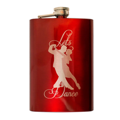 8oz RED Let's Dance Flask L1