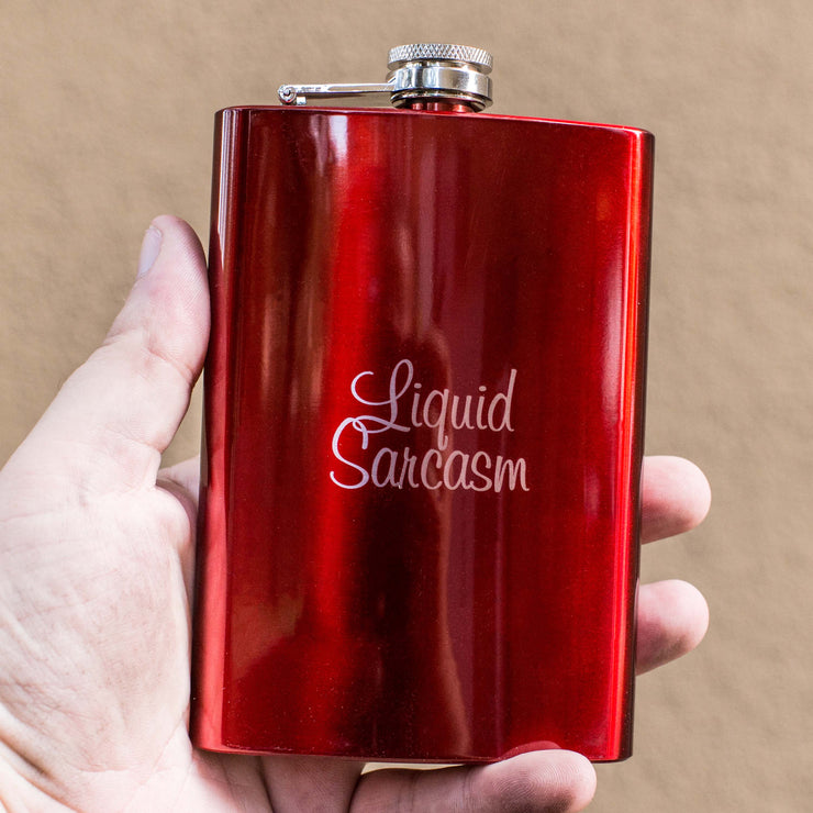 8oz RED Liquid Sarcasm Flask L1