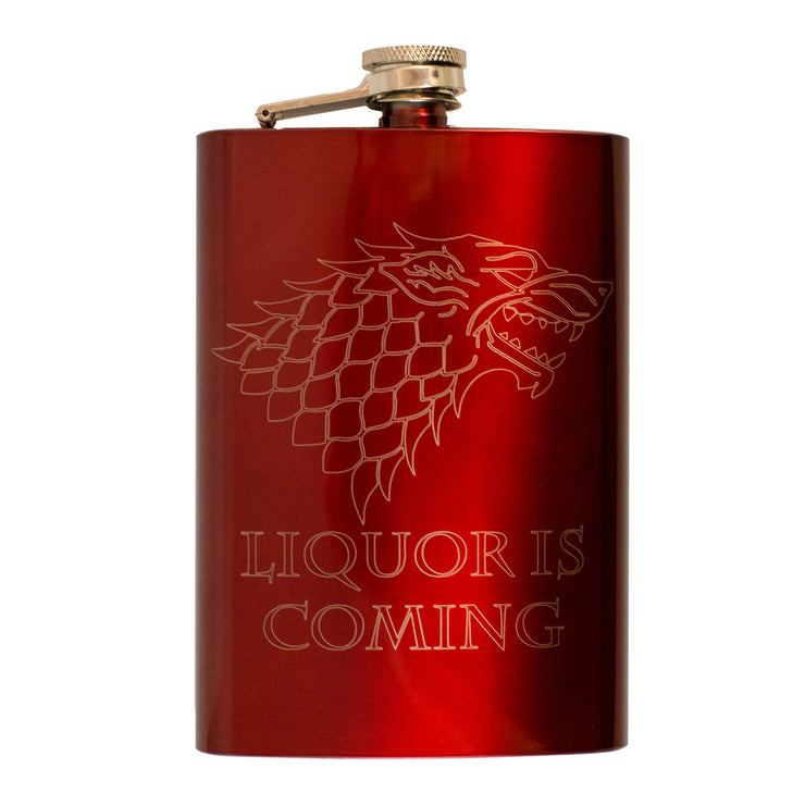 8oz RED Liquor Is Coming Flask L1 Novelty