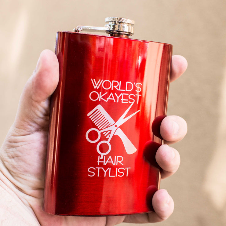 8oz RED World's Okayest Hair Stylist Flask L1