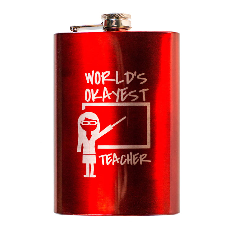 8oz RED World's Okayest Teacher Flask L1