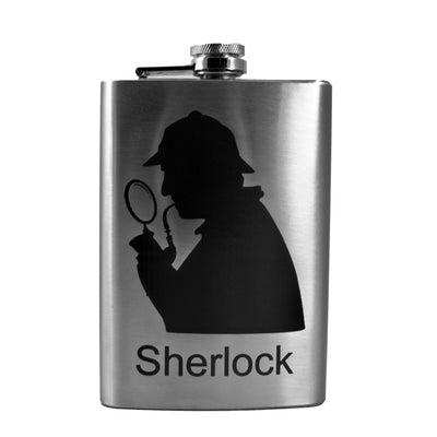 8oz Sherlock Flask Laser Engraved