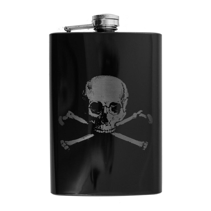 8oz Skull and Crossbones Black Flask L1