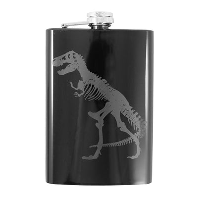 8oz T-Rex Black Flask L1