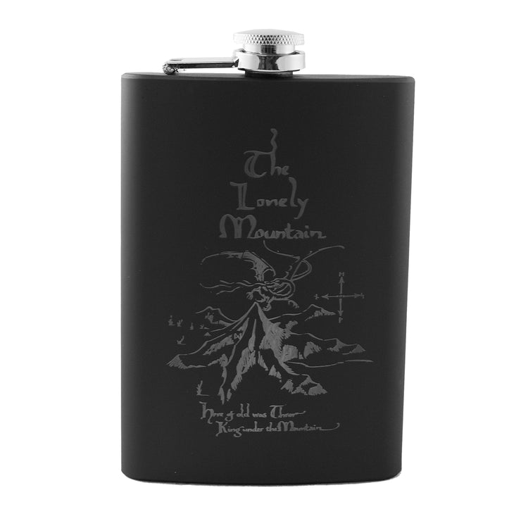 8oz The Lonely Mountain Black Flask L1
