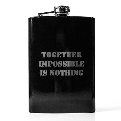 8oz BLACK Together Impossible is Nothing Flask L1