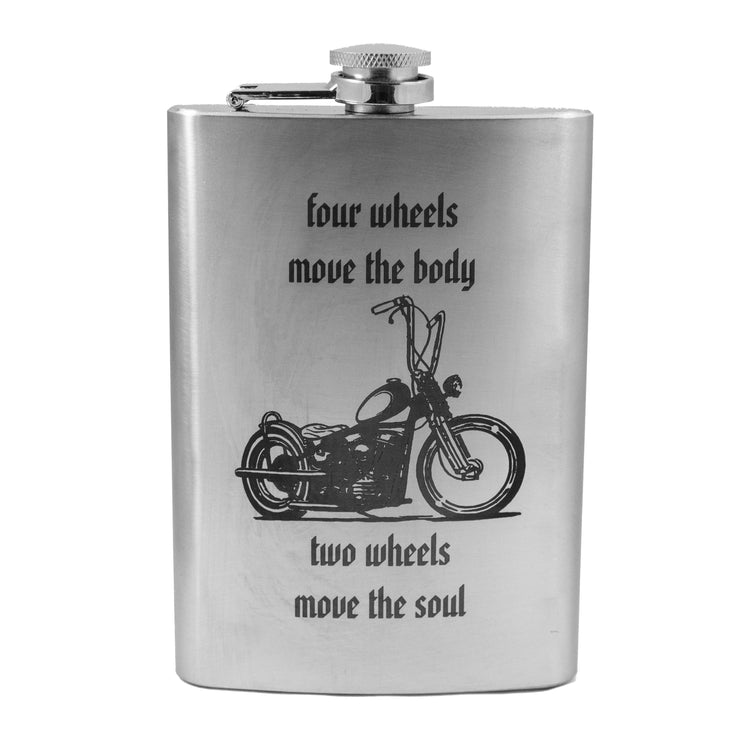 8oz Two Wheels Move the Soul Flask L1