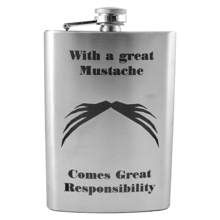 8oz With a Great Mustache Comes Great Responsibility v4 Flask L1