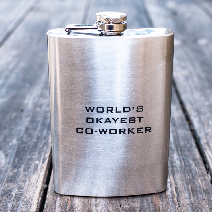 8oz World's Okayest Co-Worker Flask L1