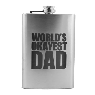 8oz Worlds Okayest Dad Flask L1