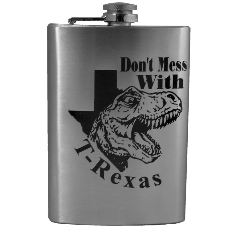 8oz Don't Mess With T-Rexas Flask L1