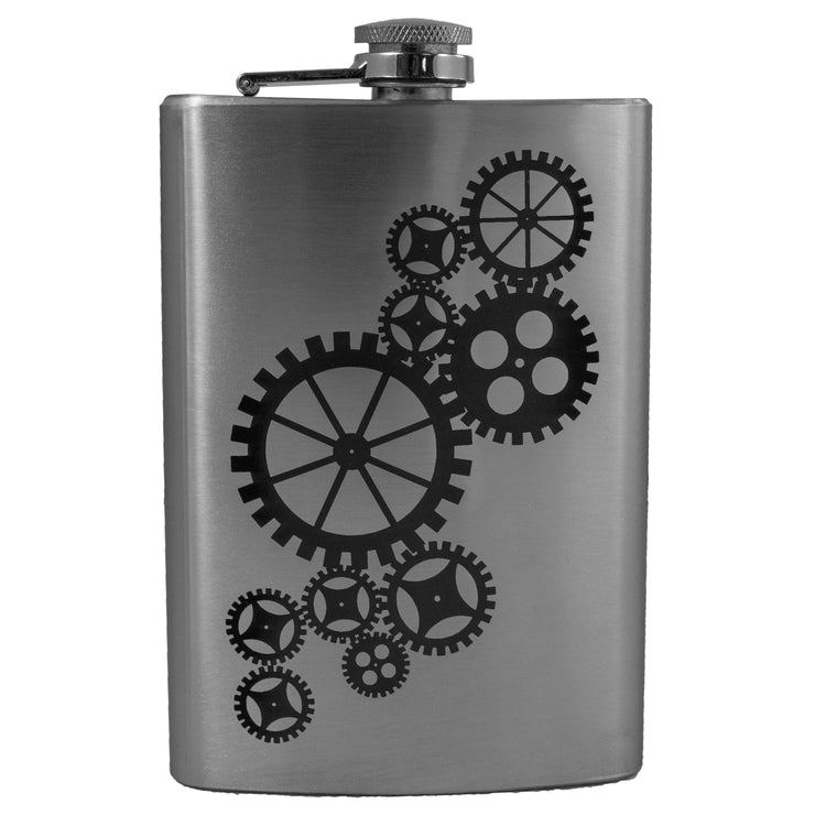 8oz Gears Flask Laser Engraved