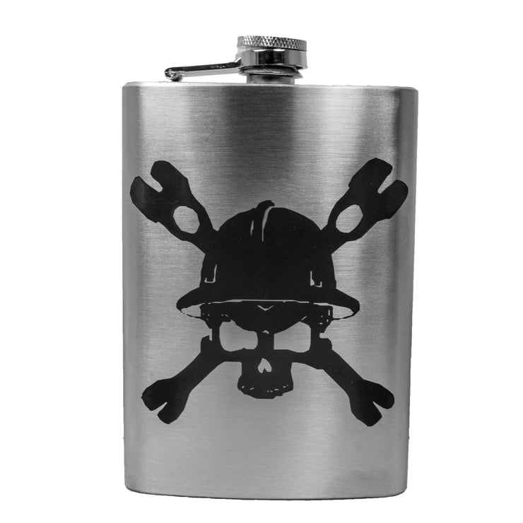 8oz Lineman with skull and cross tools hip flask L1