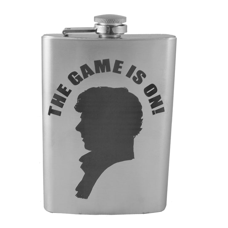 8oz The Game is On Flask Laser Engraved