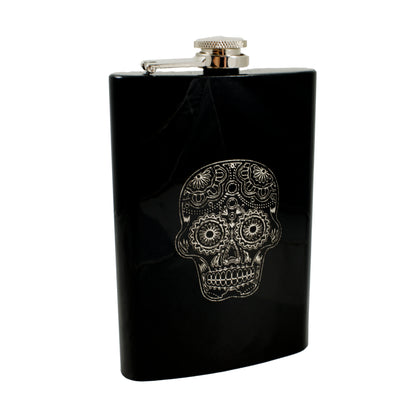 8oz Sugar Skull Black Hip Flask L1