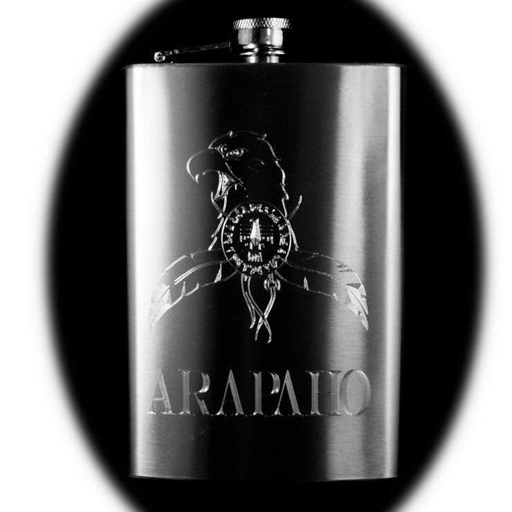 8oz Arapaho Hip Flask Native American Indian
