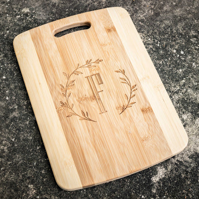 Branches with Initial Cutting Board 14''x9.5''x.5'' Bamboo
