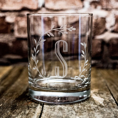 Designer Rocks Glass - Branches with Initial