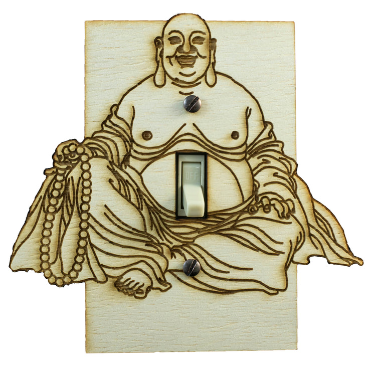 "Buddha Switch Plate - Raw Wood - 5.3""x5.1"""