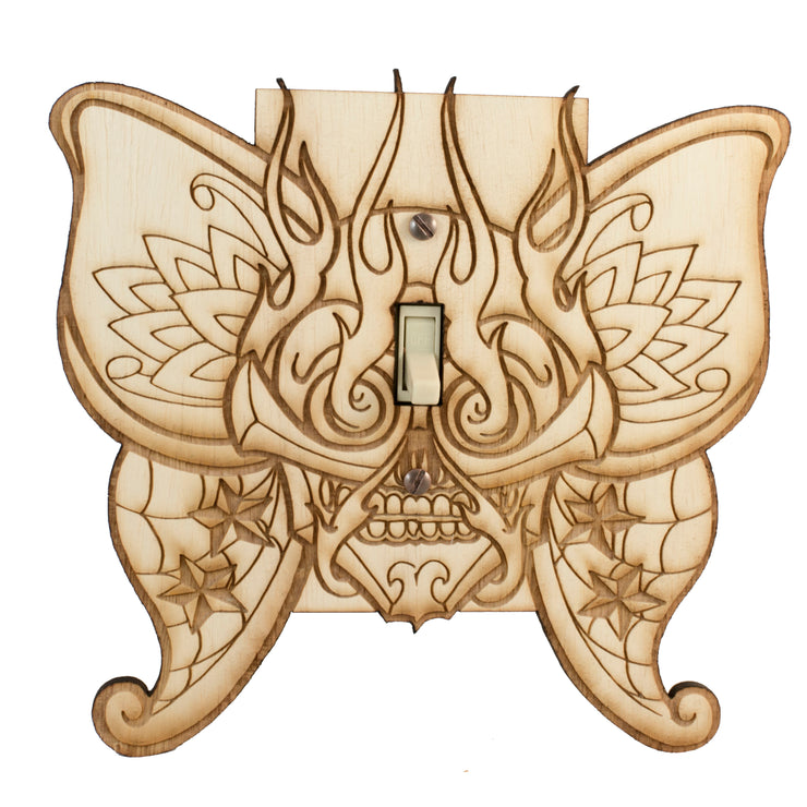 "Butterfly Fiery Skull Switch Plate - Raw Wood - 7""x6.6"""