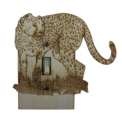"Cheetah Switch Plate - Raw Wood - 5.8""x5.4"""