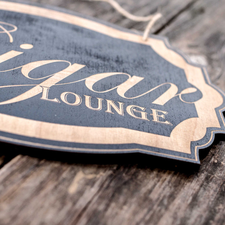 Cigar Lounge - Black Door Sign 7x9.5in