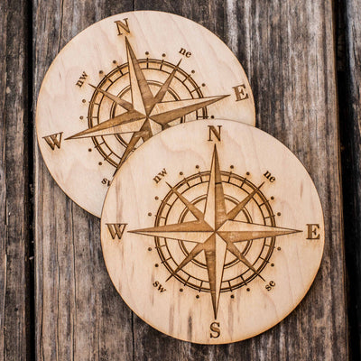 Compass Rose Coaster Set of two 4x4in Raw Wood
