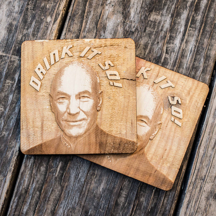 Drink it So Coaster Set of two 4x4in Raw Wood