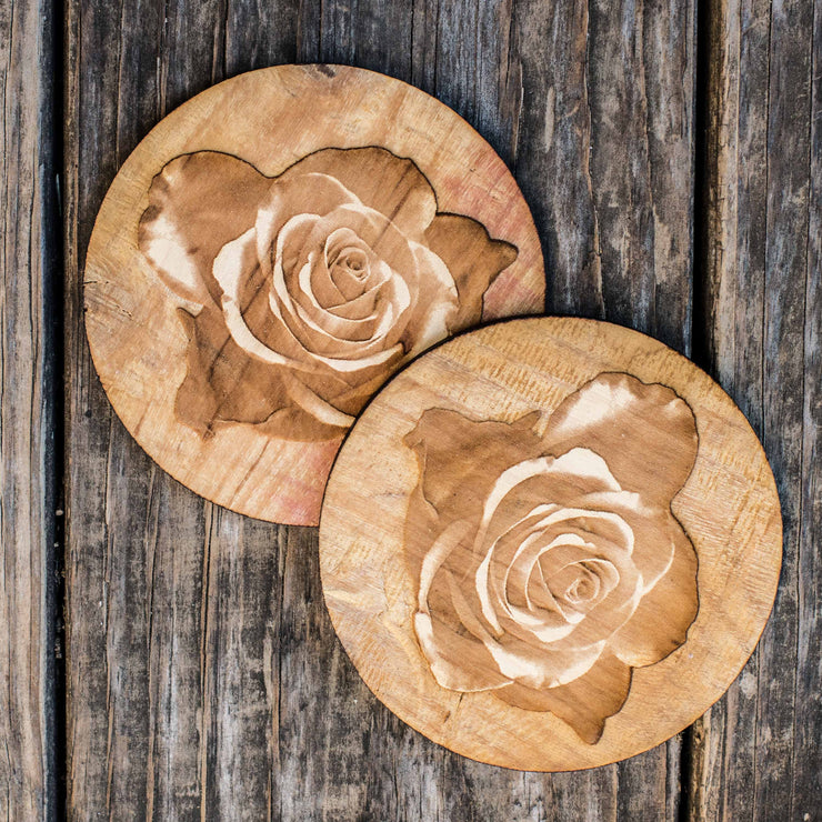 Rose Coaster Set of two 4x4in Raw Wood