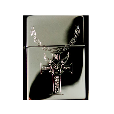 Lighter -Cross and Chains Necklace High Polish Chrome R1
