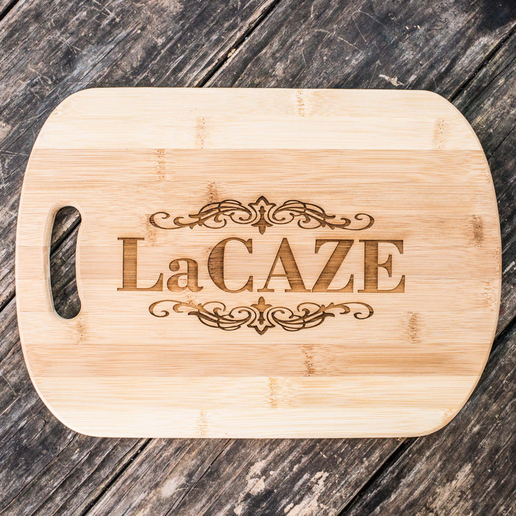 Customized Last Name Cutting Board 14''x9.5''x.5'' Bamboo