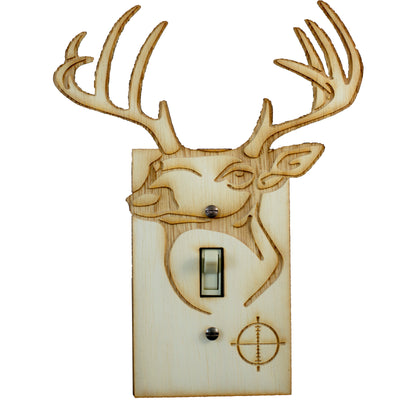 "Deer Switch Plate - Raw Wood - 6.3""x8"""