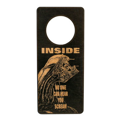 Door Hanger - Inside No One Can Hear You Scream 9x4in Painted Wood Black