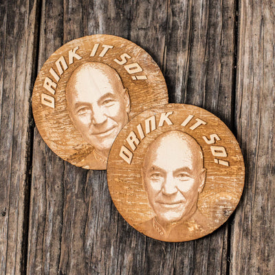 Drink it So Coaster Set of two Rounded 4x4in Raw Wood