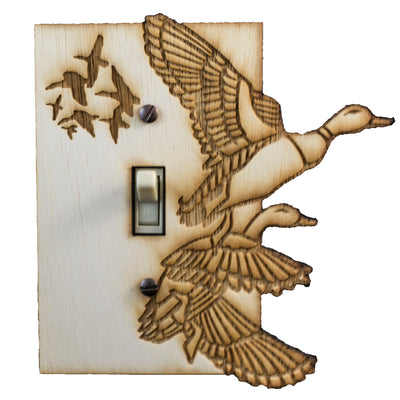 "Ducks Switch Plate - Raw Wood - 5""x5.3"""