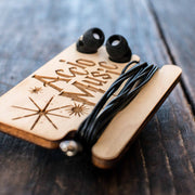Ear Bud Holder - Accio Music - Raw Wood - 2.5x3.7in