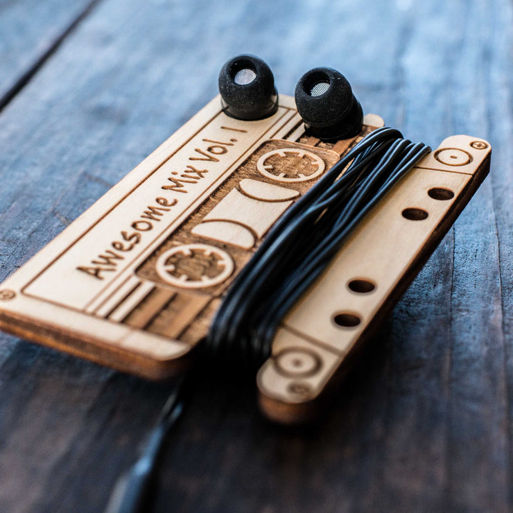 Ear Bud Holder - Awesome Mix Vol 1 - Raw Wood - 2.5x3.7in