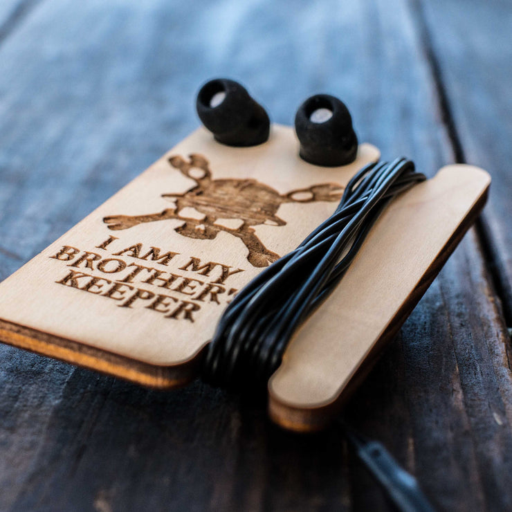 Ear Bud Holder - I Am My Brothers Keeper - Raw Wood - 2.5x3.7in