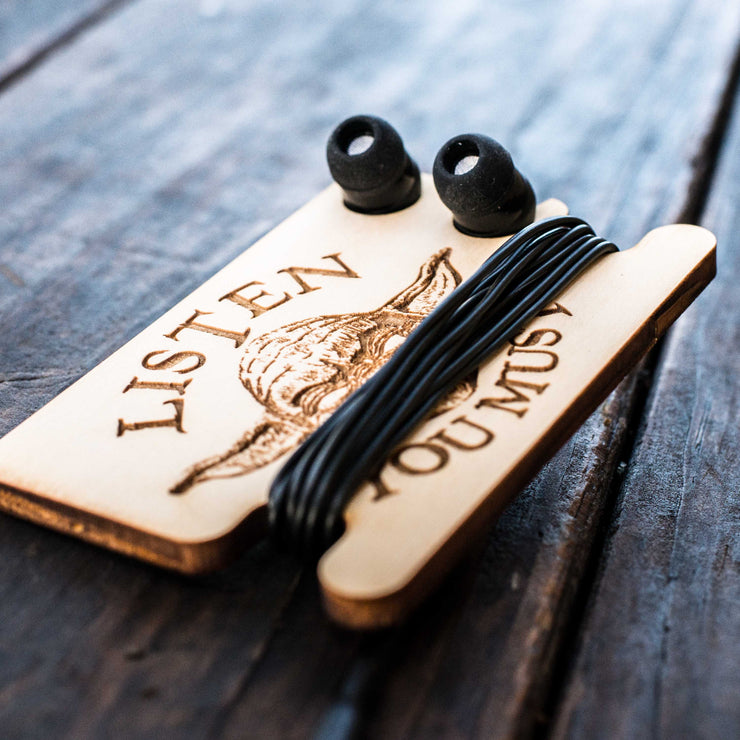 Ear Bud Holder - Listen You Must - Raw Wood - 2.5x3.7in