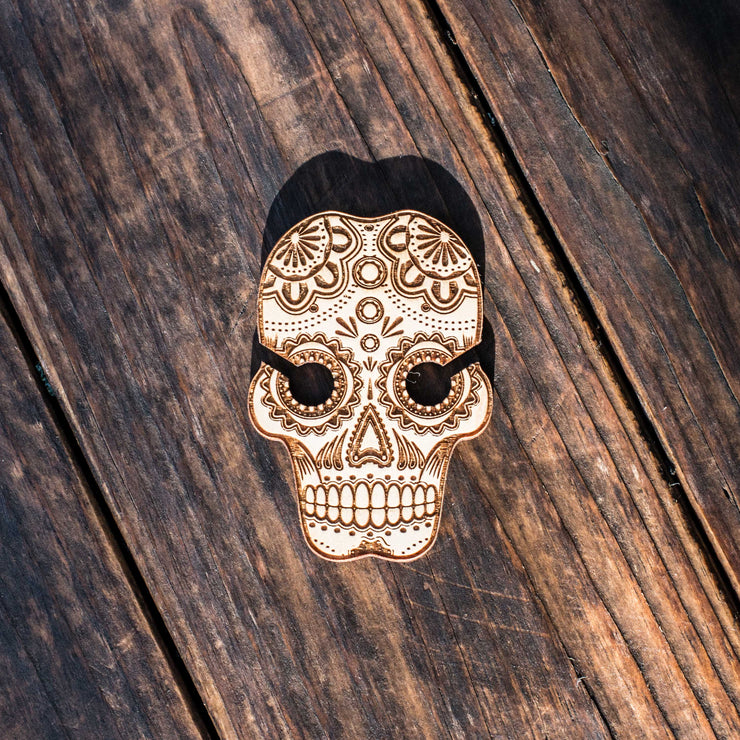 Ear Bud Holder - Sugar Skull - Raw Wood - 2.5x3.7in