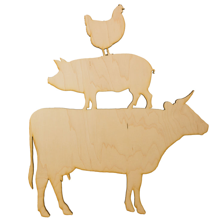 Farm Animals Raw Wood Cutout Sign 13x14 Wall Art