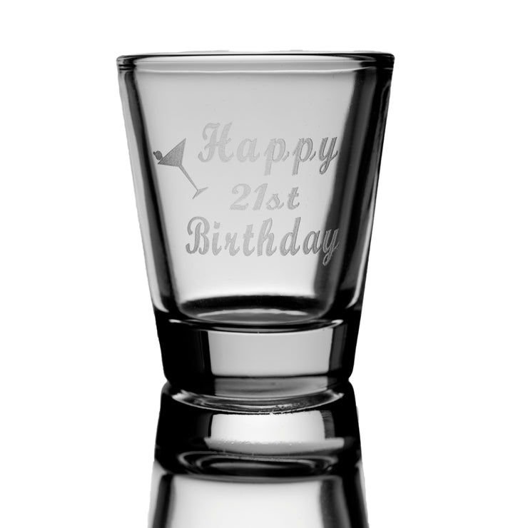 2oz Happy 21st birthday shot glass
