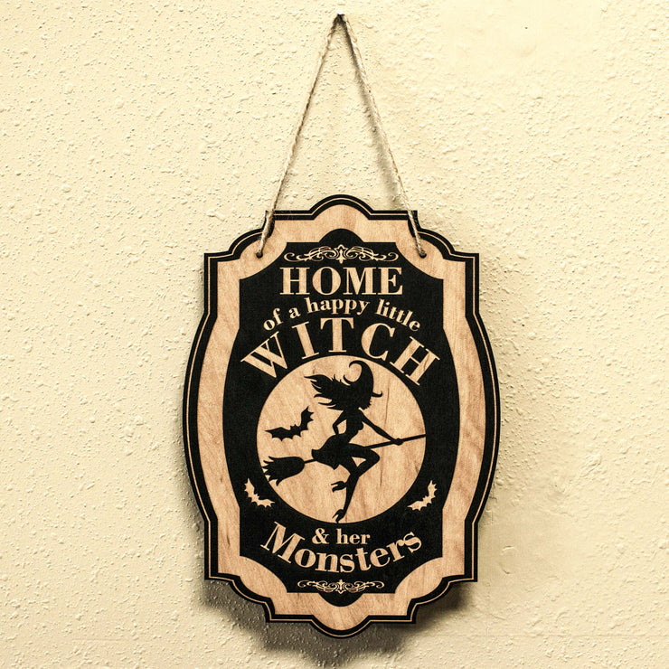 Home of a Happy Little Witch - Black Halloween Door Sign