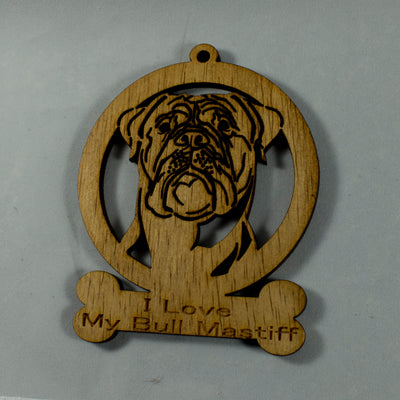 "4"" Wooden I Love My Bull Mastiff ornament"