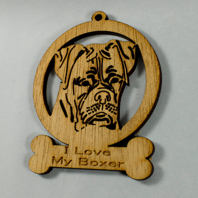 "4"" Wooden I Love My Boxer ornament"