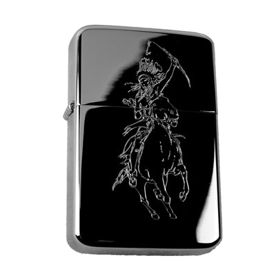 Lighter - Indian Warrior High Polish Chrome Native American Windproof R1