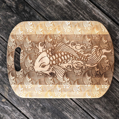 Koi Cutting Board 14''x9.5''x.5'' Bamboo