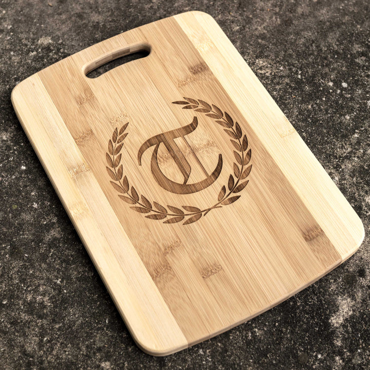 Laurels with Initial Cutting Board 14''x9.5''x.5'' Bamboo